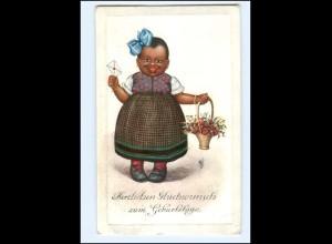 XX12980/ Farbiges schwarzes Kind mit Blumen Geburtstag AK 1911