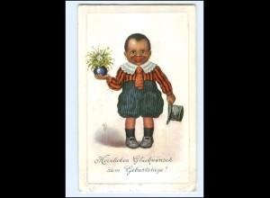 XX12981/ Farbiges schwarzes Kind mit Blumen Geburtstag AK 1911