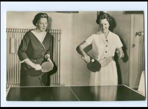 S2579/ Prinzessin Beatrix + Irene spielen Tischtennis in Soestdijk 1958 Foto AK