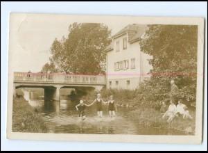 V1643/ Rothenburg ob der Tauber Kinder baden im Fluß Foto AK 1943