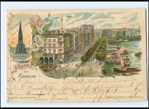 Y18805/ Gruß aus Hamburg Jungfernstieg Litho Ak ca.1900