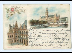 Y18806/ Gruß aus Hamburg Rathaus Litho Ak 1898