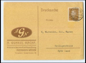 Y18820/ A. Gunkel Kolonialwaren-Handlung Nienburg AK 1932