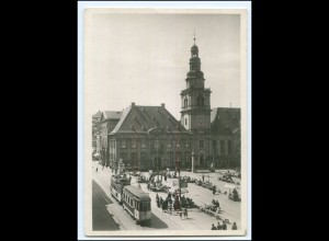 V1639/ Mannheim Markt Straßenbahn Foto AK ca.1935