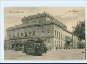 XX13103/ Braunschweig Hof Theater Straßenbahn AK 1912