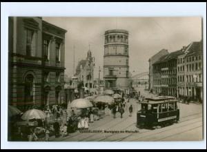 XX13690/ Düsseldorf Marktplatz Straßenbahn Foto AK ca.1910