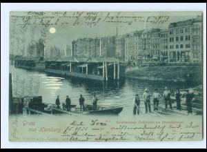 XX13323/ Gruß aus Hamburg schwimmende Zollhäuser Freihafen Mondschein AK 1899