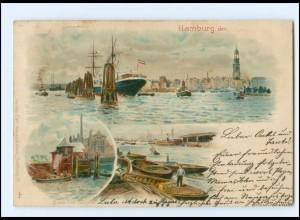 XX13331/ Hamburg Hafen Jonashafen Litho AK 1902