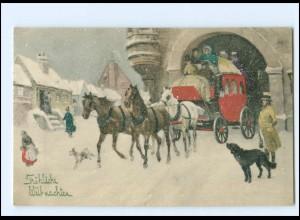 XX13424/ Weihnachten Kutsche Künstler AK V.K. Vienne 5059 1911