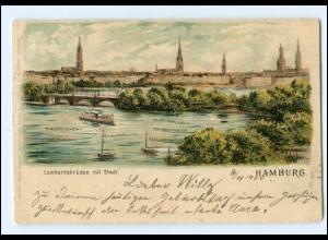 XX13298/ Hamburg Lombardsbrücke Alster Litho Glimmer 1900