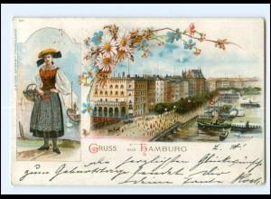 XX13301/ Gruß aus Hamburg Vierländerin Litho AK 1898