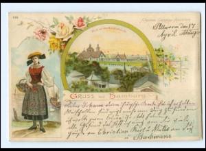 XX13302/ Gruß aus Hamburg Gartenbau-Ausstellung Vierländerin Litho AK 1904