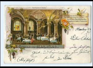 XX13303/ Gruß aus Hamburg Rathswein-Keller Litho AK 1898
