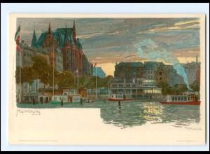XX13296/ Hamburg Binnenalster Litho Kley AK ca.1900