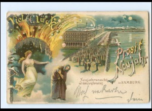 XX13297/ Hamburg Jungfernstieg Prosit Neujahr Feuerwerk Litho Glimmer AK 1901