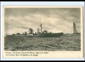 XX13394/ Kreuzer Karlsuhe Marine Ehrenmal Laboe bei Kiel Foto Ak ca.1940