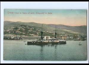 XX13348/ Trieste Kriegsschiff im Hafen Italien AK ca.1910