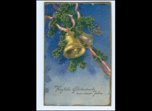 XX13425/ Neujahr Glocken Litho Prägedruck AK 1936