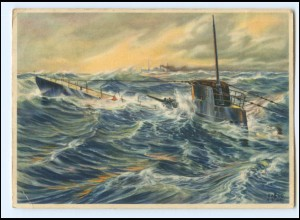 XX13389/ Wehrmacht AK auftauchendes U-Boot 1942