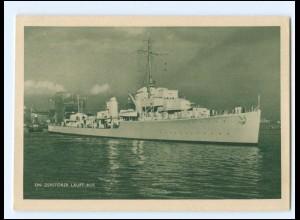 XX14686/ Ein Zerstörer läuft aus Kriegsschiff AK ca.1940