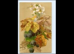 Y19513/ Blume Blätter Brombeeren Litho AK 1907