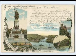 Y18868/ Gruß vom Nationaldenkmal bei Rüdesheim Litho Ak 1899