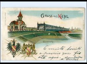 V1659-7640/ Gruß aus Kehl Rheinbrücke Litho AK 1898