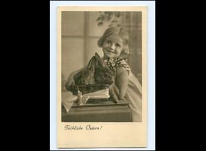 Y18900/ Ostern Mädchen mit Hasen AK ca.1935