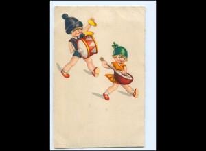 Y18902/ Kinder mit Pauke und Gitarre Litho AK ca.1925
