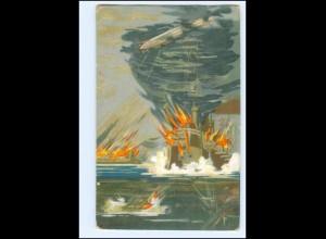 V1680/ Seekriegkarte Nr. 1 Kriegsschiffe Zeppelin Litho AK 1. Weltkrieg