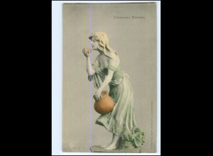 Y18937/ Trinkendes Mädchen Skulptur, plastisches Kunstwerk AK ca.1900
