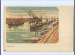 Y18925/ Port Said Ägypten Litho AK ca.1900