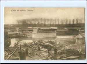 Y18927/ Brücke am Bahnhof Conflans zerstört 1. Weltkrieg Frankreich AK 1916