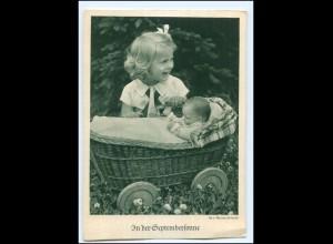 Y19525/ Mädchen mit Puppe Puppenwagen Ak ca.1938
