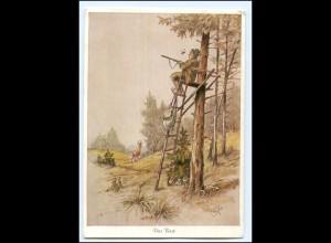 Y18932/ Jäger auf dem Hochsitz Geilfus Künstler AK Jagd