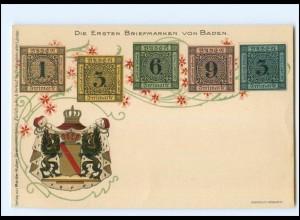 XX13537/ Briefmarken Litho AK Die ersten Briefmarken von Baden Wappen