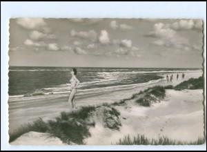 XX14694/ Borkum Abessinien FKK Frau nackt am Strand AK ca.1960