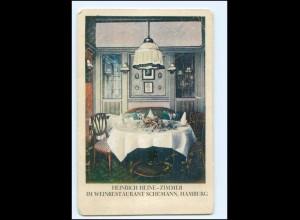 V1729/ Hamburg Weinrestaurant Schümann Heinrich Heine-Zimmer AK ca.1910