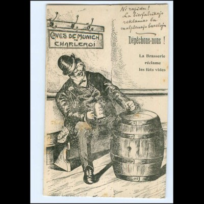 Y19215/ Charleroi Caves de Munich Belgien AK 1912 Bier