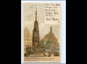 """Y19145/ Nürnberg der """"Schöne Brunnen"""" Litho AK 1905"""