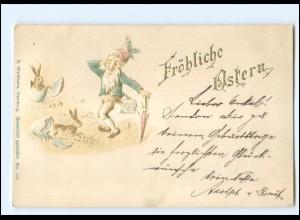 Y19154/ Ostern Zwerg und Hasen Prägedruck AK ca.1900