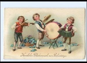 Y19156/ Geburtstag Kinder musizieren Geige, Trommel, Akkordeon Litho AK ca.1925