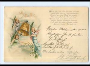 Y19157/ Weihnachten Engel Litho Glimmer AK 1900