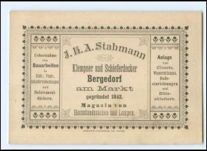 Y19160/ Hamburg Bergedorf Stahmann Klempner Vertreterkarte Werbung ca.1910