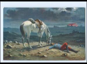 Y19169/ Guter Freund - Gefallener Soldat und Pferd 1. Weltkrieg Künstler AK
