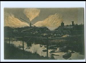 Y19173/ Hamburg Neuengamme-Kirchwärder Erdgasbrand AK 1910 Feuer