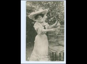 Y19179/ Miss Marie Studholme mit Papagei Vogelkäfig Foto AK ca.1908