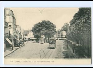 V1717/ Fontainebleu La Place Dennecourt Tramway Straßenbahn AK -779-