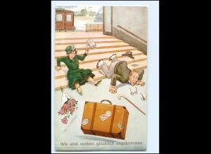 Y19196/ Soeben glücklich angekommen! Bahnhof Humor AK ca.1925