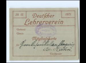 Y19181/ Mitgliedskarte Deutscher Lehrerverin 1914 Bezirks-Lehrerverein Bautzen